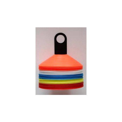 Capetan® 50-er Set Markierungsteller mit Markierungstellern in 5 Farben mit Einkerbungen für Stangen, mit Stapelhalter – Markierungsteller-Set mit Einkerbungen