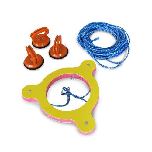 Haltering für Wasserballstart – komplette Vorrichtung zum Festhalten des Wettkampfballes auf der Mittellinie mit 3 Stck. Saugnäpfen (als Festhalter) und Seil