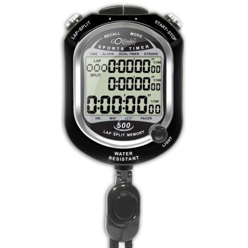 Stoppuhr mit einer Memorie von 500 – geeignet für Verwendung im Schwimmbad, bis 30 m wasserdicht, LED-Beleuchtung; wird mit Lithiumbatterie betätigt