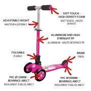 Nextreme Princess zusammenklappbarer fuchsiafarbener Dreiradroller für Mädchen – bremsbarer Aluminiumroller, zwei 120 mm große Vorderräder aus PVC, ABEC 7 Lagerung