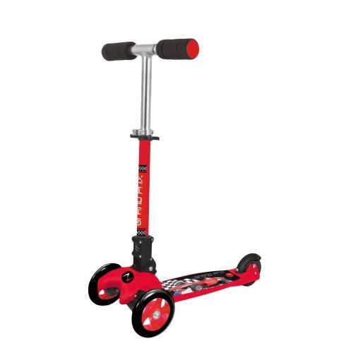 Nextreme Grand Prix zusammenklappbarer roter Dreiradroller für kleine Jungen – bremsbarer Aluminiumroller, zwei 120 mm große Vorderräder aus PVC, ABEC 7 Lagerung