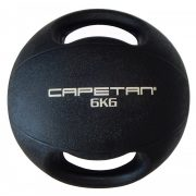 Capetan® Professional Line Dual Grip 6 kg Medizinball aus Gummi mit zwei Griffen (auf Wasser schwimmend) – 6 kg Cross Training Medizinball mit Griffen
