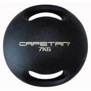 Capetan® Professional Line Dual Grip 7 kg Medizinball aus Gummi mit zwei Griffen (auf Wasser schwimmend) – 7 kg Cross Training Medizinball mit Griffen