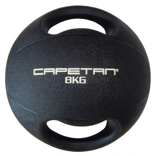 Capetan® Professional Line Dual Grip 8 kg Medizinball aus Gummi mit zwei Griffen (auf Wasser schwimmend) – 8 kg Cross Training Medizinball mit Griffen