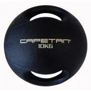 Capetan® Professional Line Dual Grip 10 kg Medizinball aus Gummi mit zwei Griffen (auf Wasser schwimmend) – 10 kg Cross Training Medizinball mit Griffen