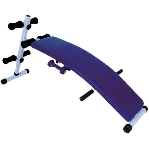 Gewölbte Bauchbank – Multifunktions-Trainingsbank mit Hantelhalterung, Schrägbank zur Bauchmuskelstärkung
