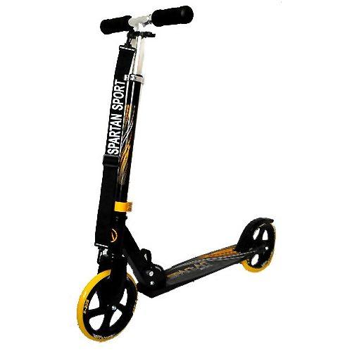 """""""Gigant Wheel"""" Roller mit riesigen (200 x 34 mm) Rädern – schwarz-gelber Aluroller für Kinder/Erwachsene, verstellbare Lenksäule, schwarze Handgriffe"""