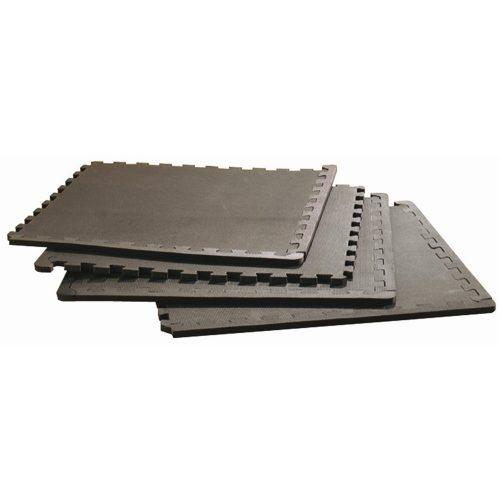 Capetan® Bodenschutzset aus 4 Stck. schwarzen zusammensetzbaren Puzzle-Matten von 60x60x1 cm Größe