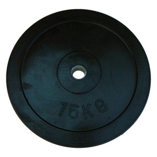 Capetan® 15 kg gummierte standardmäßige Hantelscheibe von 31 mm Durchm. mit einem Stahlring in der Mitte – Gummi-Hantelscheibe – gummiüberzogene Hantelscheibe