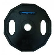 Capetan® 15 kg gummiüberzogene Olympiascheibe, zwei Griffen, mit eckigem rollhemmendem Rand, mit 51 mm Lochdurchmesser – gummierte Hantelscheibe