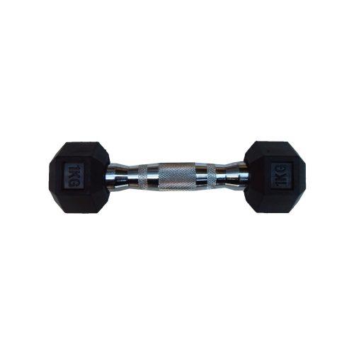 Capetan® Professional Line 1 kg HEX Einhand-kurzhantel für Fitnessraum mit gummierten Köpfen und verchromtem Griff – gummierte Hexagonhantel