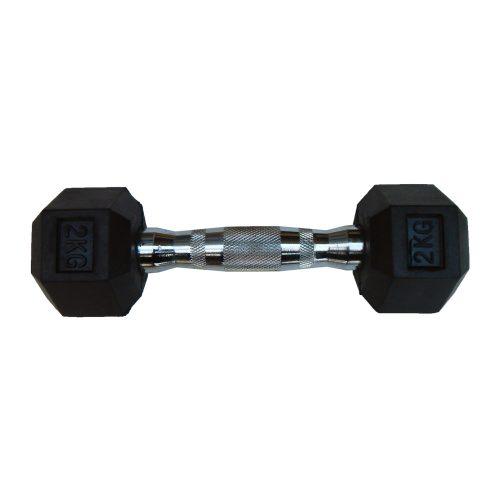 Capetan® Professional Line 2 kg HEX Einhand-kurzhantel für Fitnessraum mit gummierten Köpfen und verchromtem Griff – gummierte Hexagonhantel