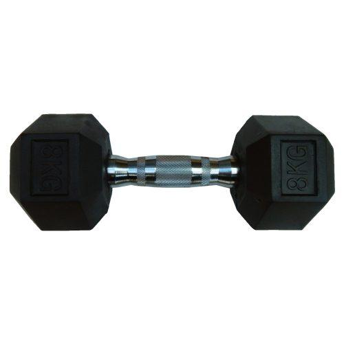 Capetan® Professional Line 8 kg HEX Einhand-kurzhantel für Fitnessraum mit gummierten Köpfen und verchromtem Griff – gummierte Hexagonhantel