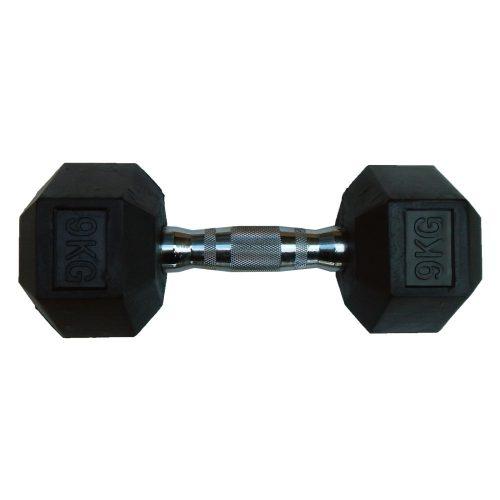 Capetan® Professional Line 9 kg HEX Einhand-kurzhantel für Fitnessraum mit gummierten Köpfen und verchromtem Griff – gummierte Hexagonhantel