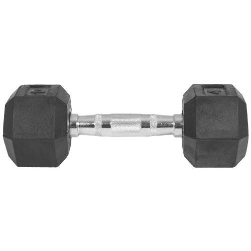 Capetan® Professional Line 10 kg HEX Einhand-kurzhantel für Fitnessraum mit gummierten Köpfen und verchromtem Griff – gummierte Hexagonhantel