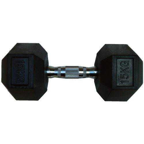 Capetan® Professional Line 15 kg HEX Einhand-kurzhantel für Fitnessraum mit gummierten Köpfen und verchromtem Griff – gummierte Hexagonhantel