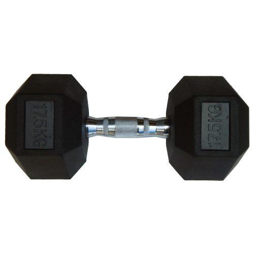 Capetan® Professional Line 17,5 kg HEX Einhand-kurzhantel für Fitnessraum mit gummierten Köpfen und verchromtem Griff – gummierte Hexagonhantel