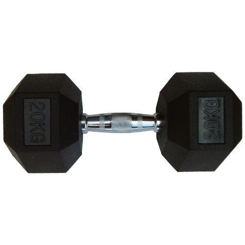 Capetan® Professional Line 20 kg HEX Einhand-kurzhantel für Fitnessraum mit gummierten Köpfen und verchromtem Griff – gummierte Hexagonhantel