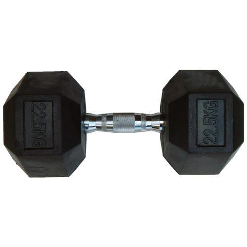 Capetan® Professional Line 22,5 kg HEX Einhand-kurzhantel für Fitnessraum mit gummierten Köpfen und verchromtem Griff – gummierte Hexagonhantel