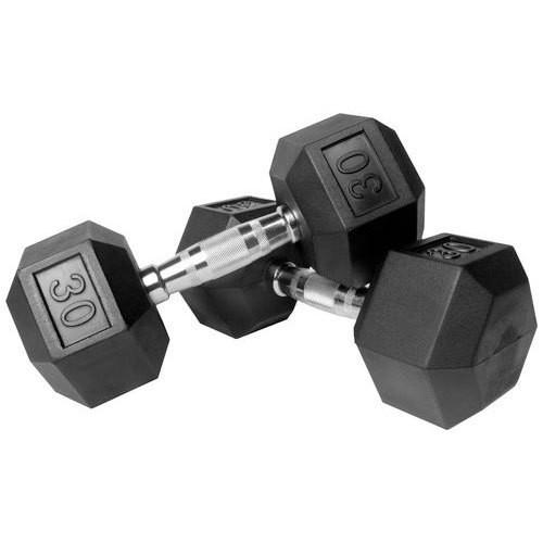 Capetan® Professional Line 30 kg HEX Einhand-kurzhantel für Fitnessraum mit gummierten Köpfen und verchromtem Griff – gummierte Hexagonhantel