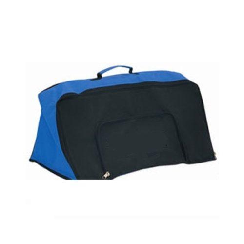 Speziell gestaltete Sporttasche zum Transportieren, Speichern eines Minihürdensets (für 6 Stck. 23 cm hohe Hürden) mit durch Reißverschluss nach unten öffnendem Fach, mit zwei verschiedenen Speicherfächern für Sportausrüstungen