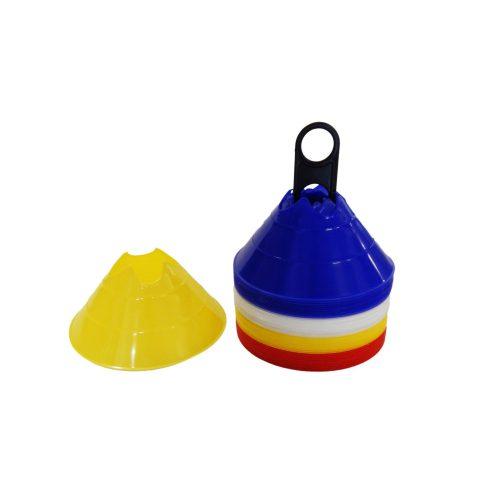 Capetan® MiniDome Trainingskegel-Set für Fußball: 40-er Set Markierungsteller mit Einkerbungen für Stangen – Markierungshauben 14x6,5 cm