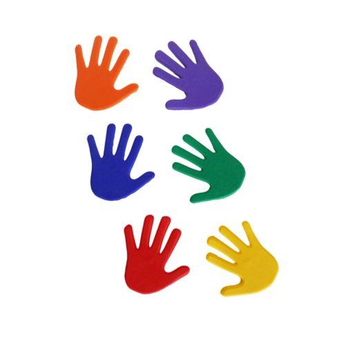 Capetan® Bodenmarkierungsset in Handform aus speziellem rutschhemmendem Gummi – 14,5x14,5 cm, 6 unterschiedliche Farben, 6 Paare von Händen